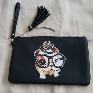 MMS Dog Motif Clutch/Wristlet